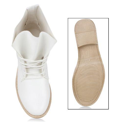 Damen Schnürstiefeletten - Weiß