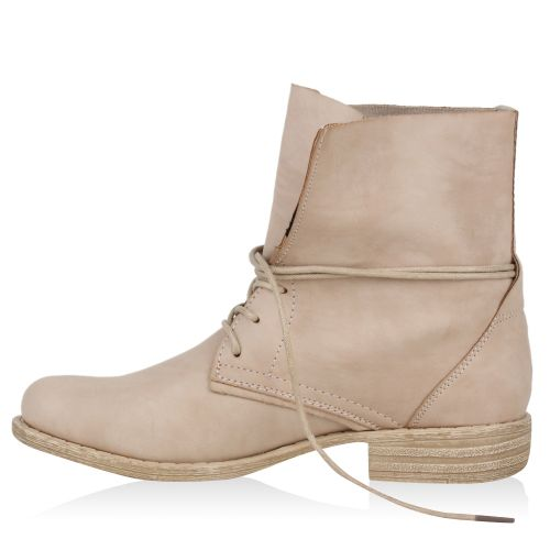Damen Schnürstiefeletten - Beige