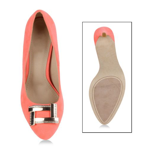 Damen Pumps High Heels - Coral
