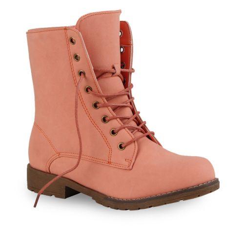 Damen Stiefeletten Worker Boots - Coral