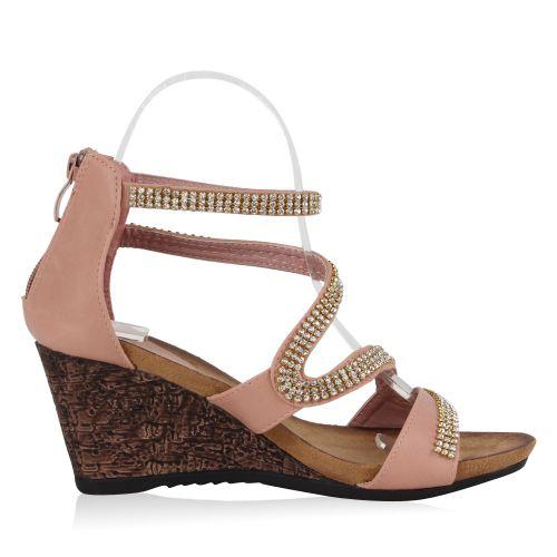 Damen Sandaletten Keil Sandaletten - Rosa - Cornelia
