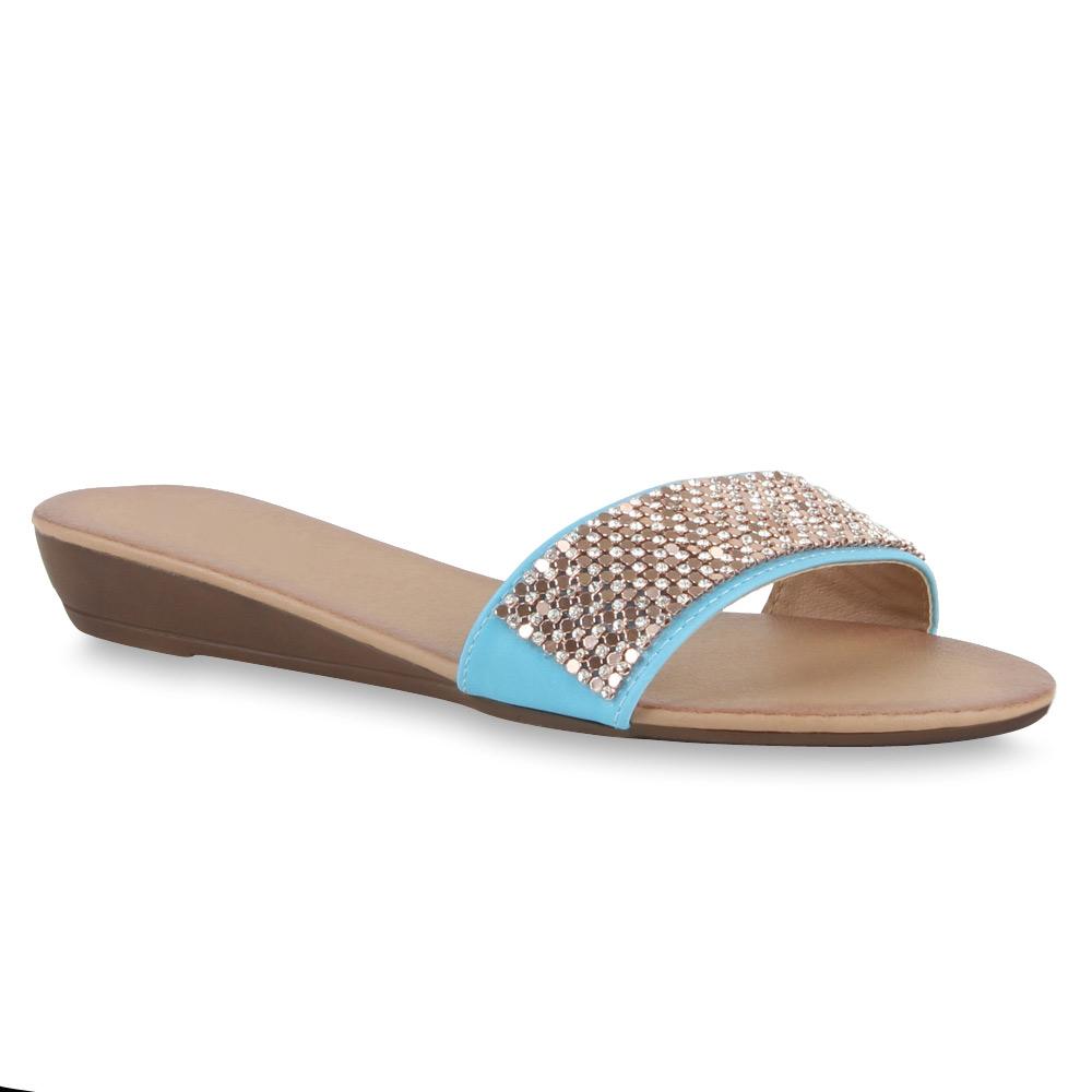 Damen Sandalen Pantoletten - Türkis