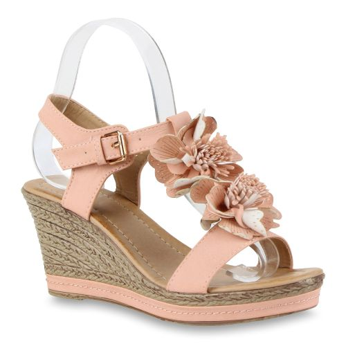 Damen Sandaletten Riemchen Sandalen - Rosa - West Canton