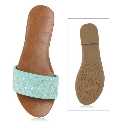 Damen Sandalen Pantoletten - Hellgrün