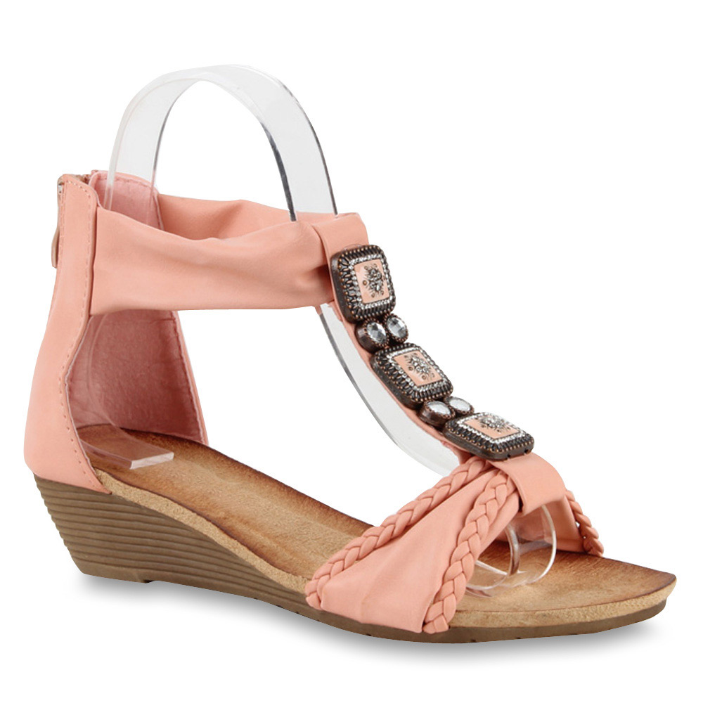 Damen Sandaletten Keil Sandaletten - Rosa - Youngsville