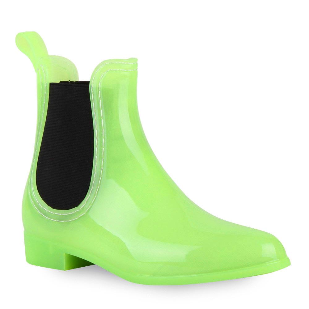 Damen Stiefeletten Gummistiefeletten - Hellgrün