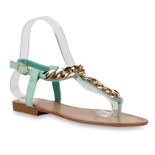 Damen Sandalen Zehentrenner - Hellgrün