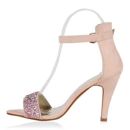 Damen Sandaletten High Heels - Rosa - Farm Loop