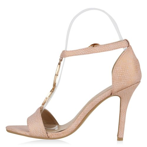 Damen Sandaletten High Heels - Rosa - Helper