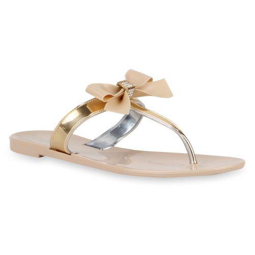 Damen Sandalen Zehentrenner - Nude