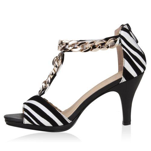 Damen Sandaletten High Heels - Zebra