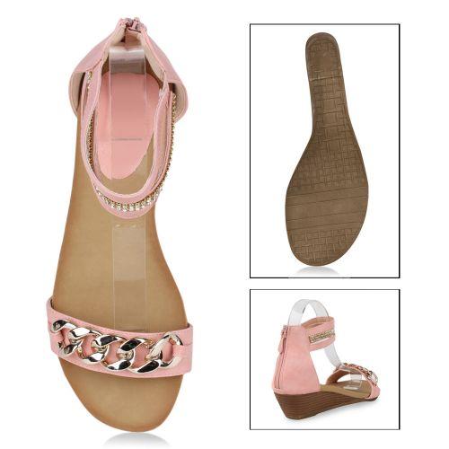 Damen Sandaletten Keil Sandaletten - Rosa - Kenhorst