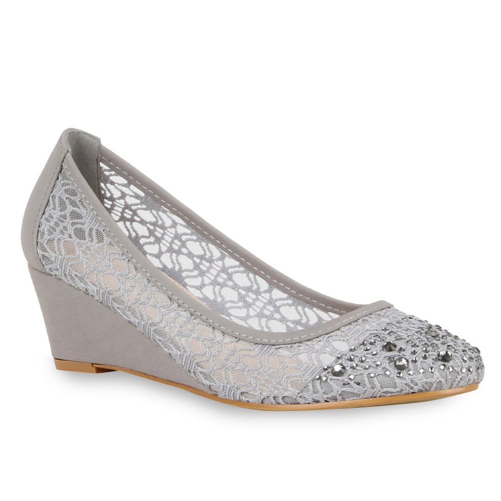 Damen Pumps Keilpumps - Grau