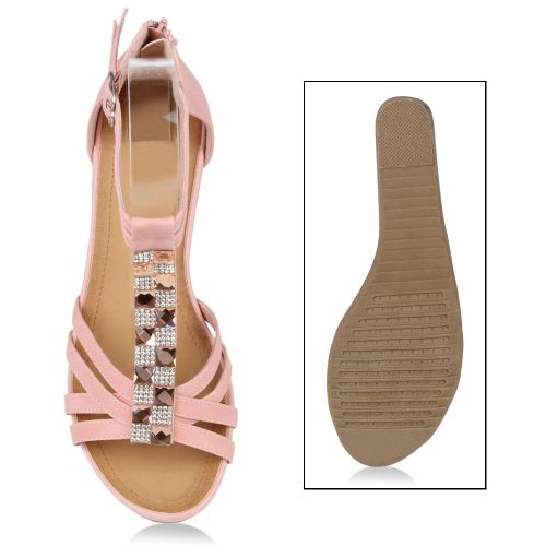 Damen Sandaletten Keil Sandaletten - Rosa - Bury