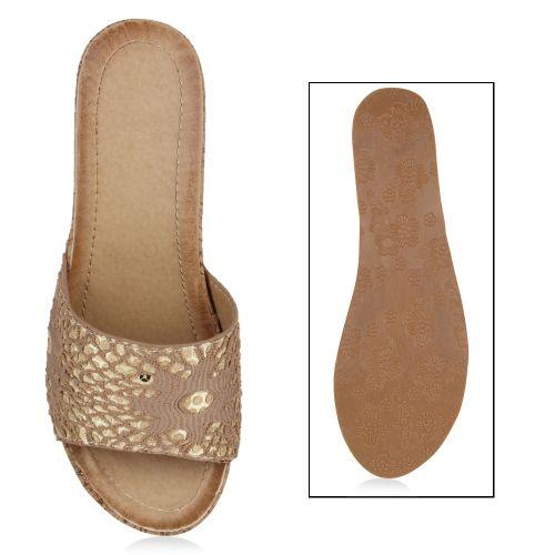 Damen Sandalen Pantoletten - Braun