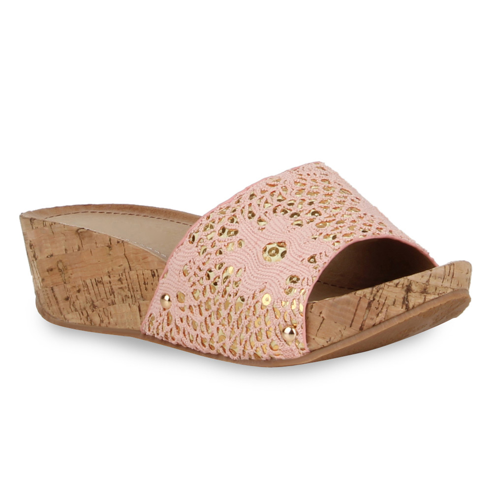 Damen Sandalen Pantoletten - Rosa - Vado