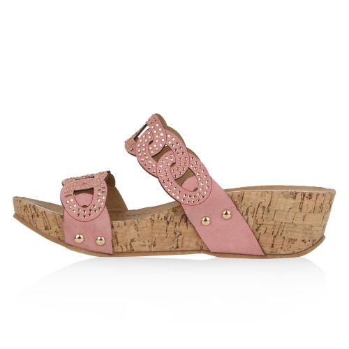 Damen Sandaletten Pantoletten - Rosa - Zellwood
