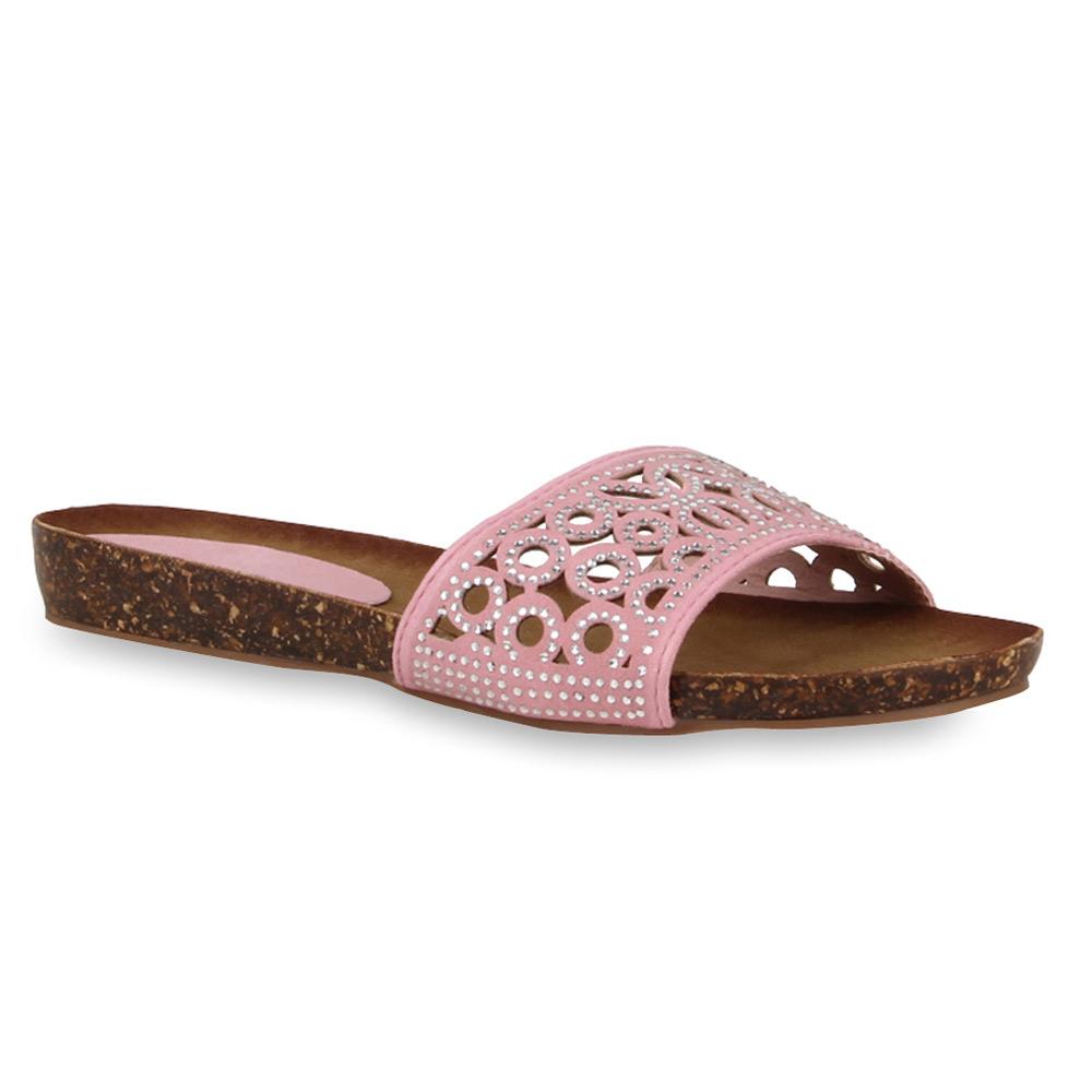 Damen Sandalen Pantoletten - Rosa - Santa Ana