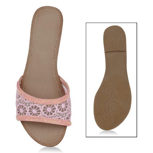 Damen Sandalen Pantoletten - Rosa - Anaco