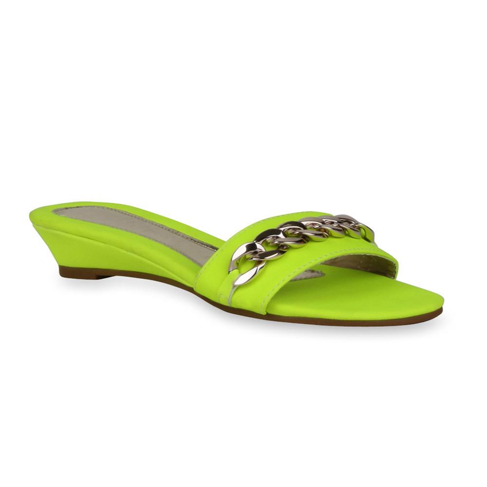 Damen Sandalen Pantoletten - Neongelb