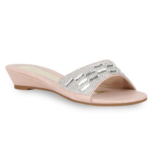 Damen Sandalen Pantoletten - Rosa - El Monte