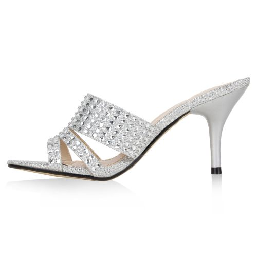 Damen Sandaletten Mules - Silber