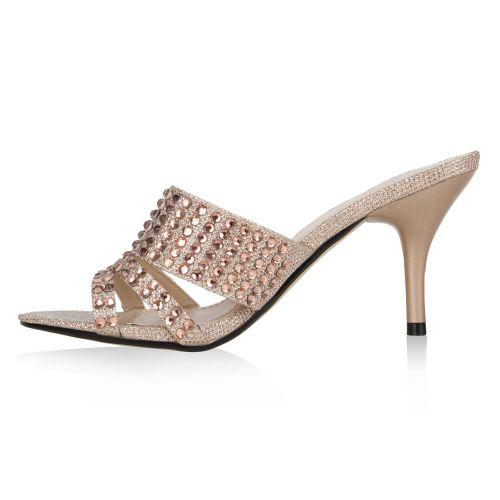 Damen Sandaletten Mules - Rosa - Shelby