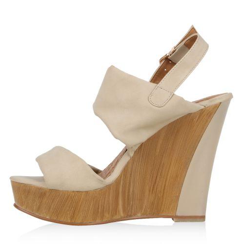 Damen Sandaletten High Heels - Nude