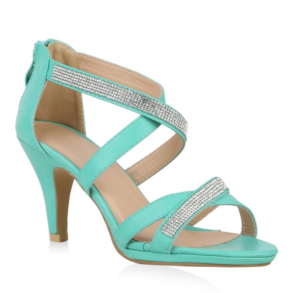 Damen Sandaletten High Heels - Türkis