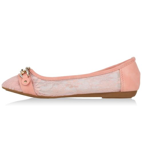 Damen Ballerinas Klassische Ballerinas - Rosa - White Castle