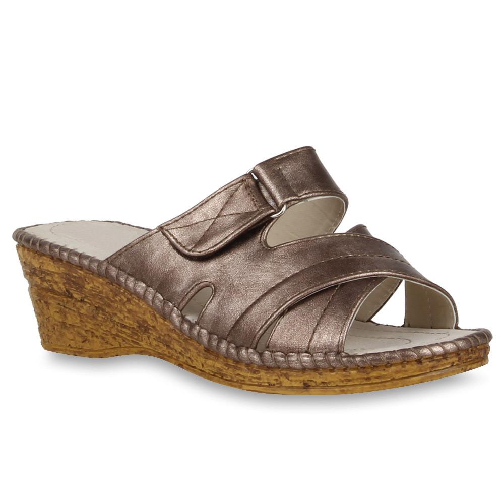 Damen Sandalen Pantoletten - Bronze