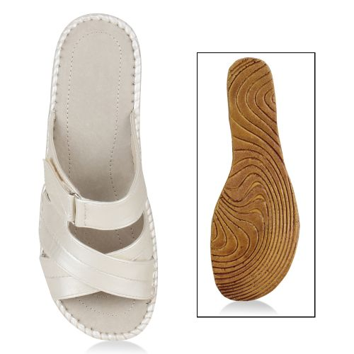 Damen Sandalen Pantoletten - Nude