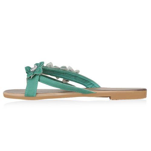 Damen Sandalen Zehentrenner - Grün