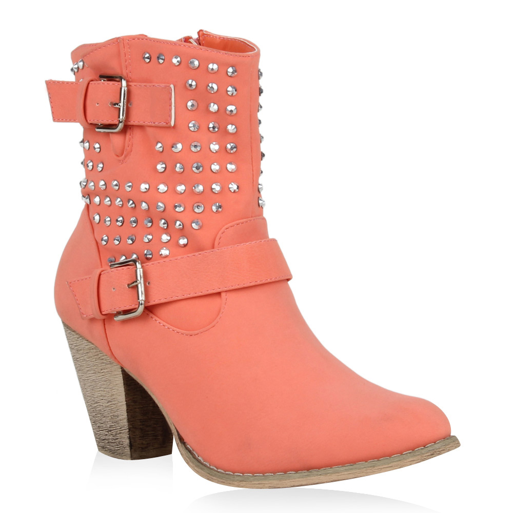 Damen Stiefeletten Cowboy Boots - Coral