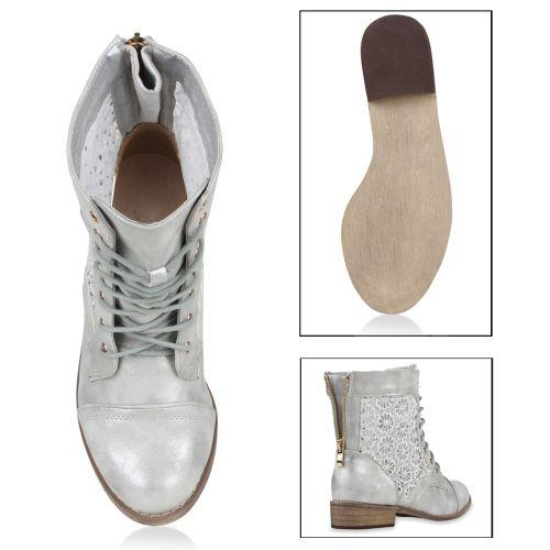 Damen Stiefeletten Worker Boots - Silber