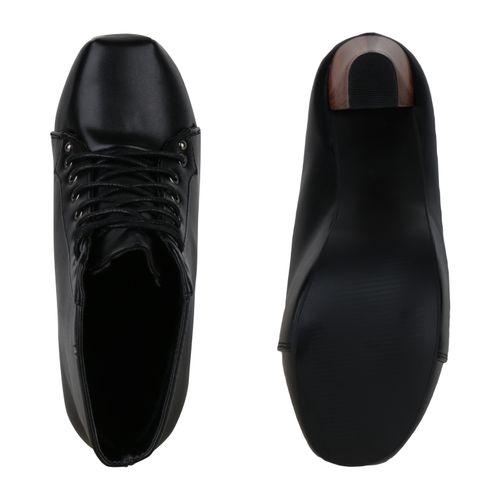 Damen Plateau Damen Boots Boots Stiefeletten Plateau Schwarz Stiefeletten wpwxzPfq