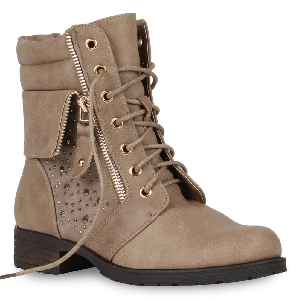 Damen Stiefeletten Worker Boots - Khaki