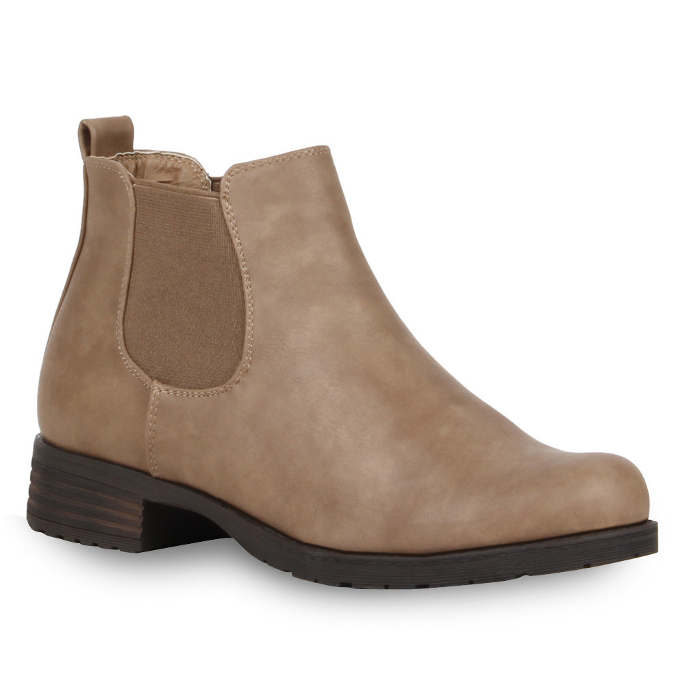 Damen Stiefeletten Chelsea Boots - Creme