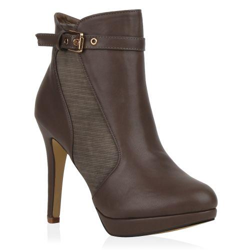 Damen Stiefeletten Plateau Boots - Taupe