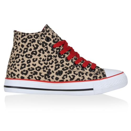Damen Sneaker high - Rot Leopard