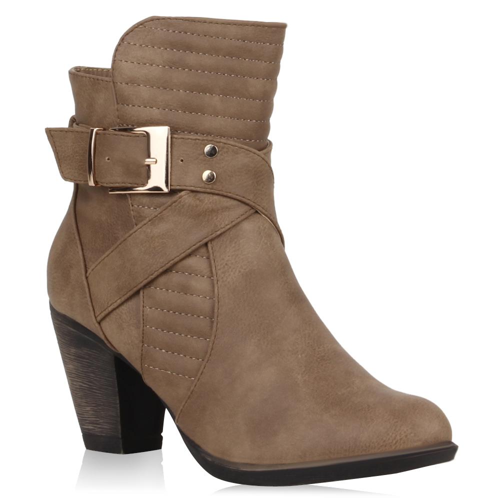 Damen Stiefeletten High Heels - Khaki