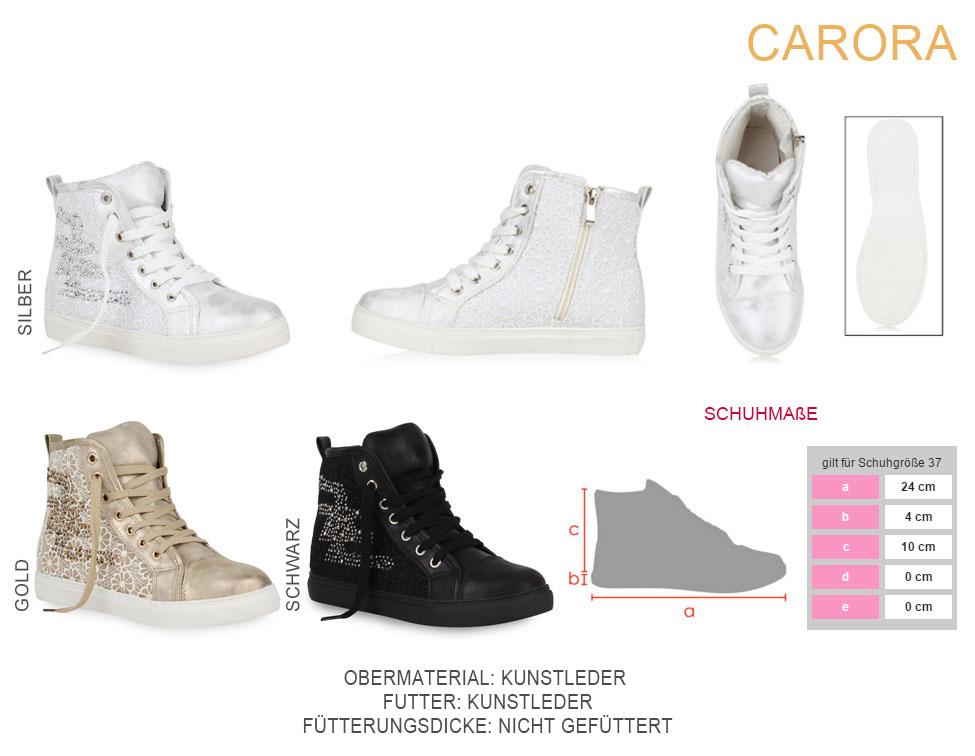 Damen Sneaker High Karo Turnschuhe Schnürer Strass Freizeit Schuhe 73043 Top