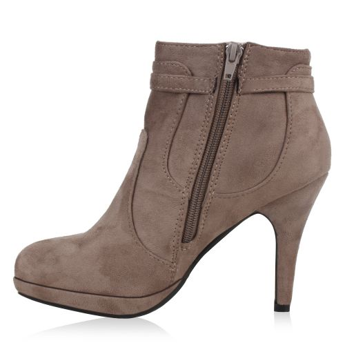Damen Stiefeletten Ankle Boots - Taupe