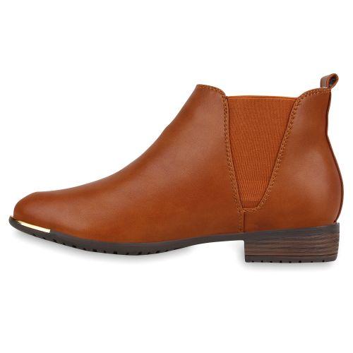 Damen Stiefeletten Chelsea Boots - Braun