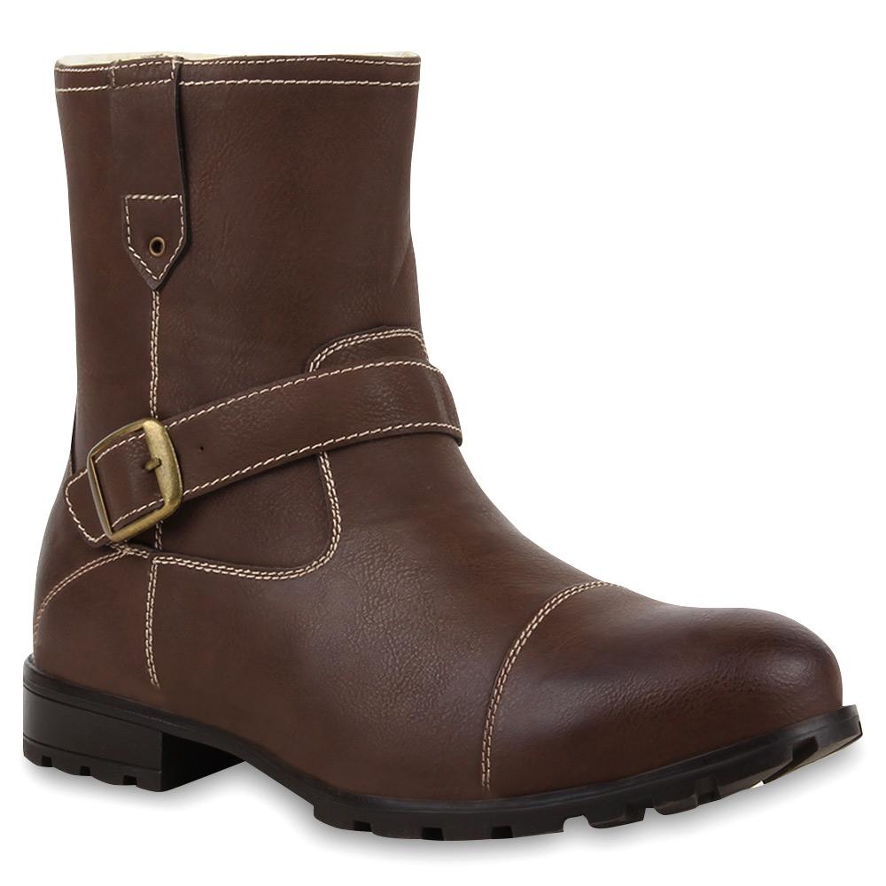 Herren Boots Biker Boots - Dunkelbraun
