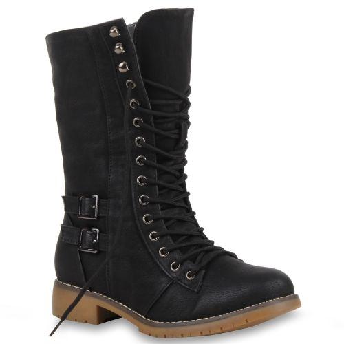 Damen Stiefeletten Worker Boots - Schwarz Schwarz