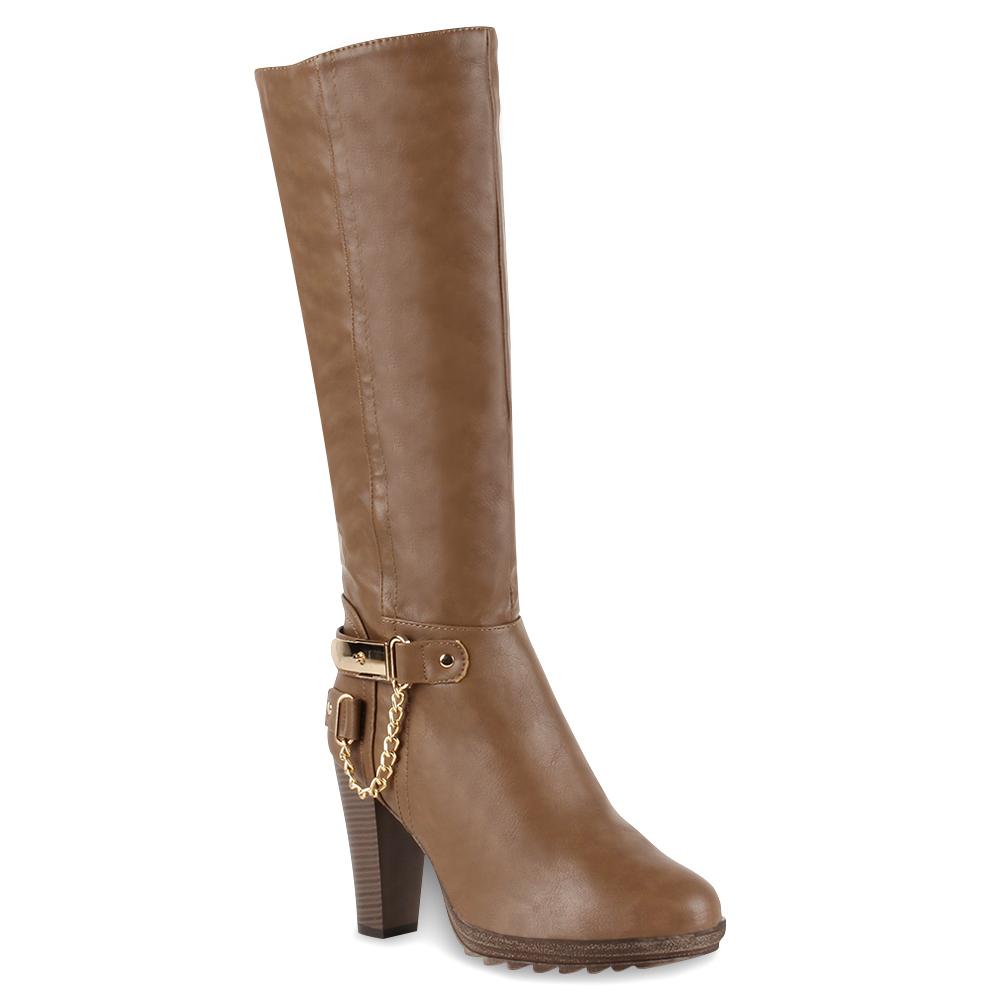 Damen Stiefel High Heels - Khaki