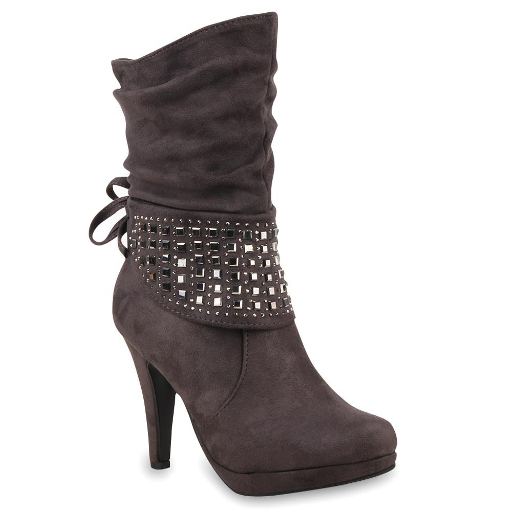 Damen Stiefeletten High Heels - Grau