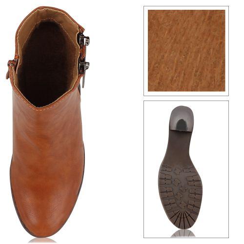 Damen Stiefeletten Plateau Boots - Braun
