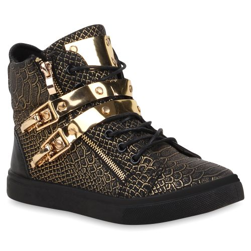 77395776c945ac Damen Sneaker in Schwarz Gold (73503-1441) - stiefelparadies.de
